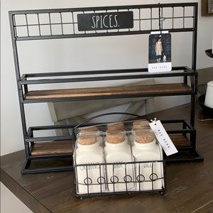 New Rae Dunn Spice rack and spices set as a pair